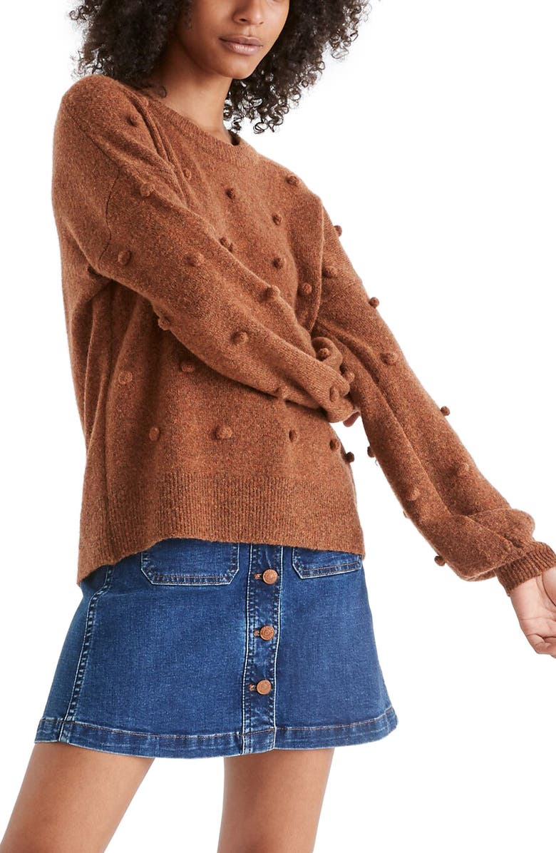 MADEWELL Brockton Bobble Sweater, Main, color, HEATHER CIDER