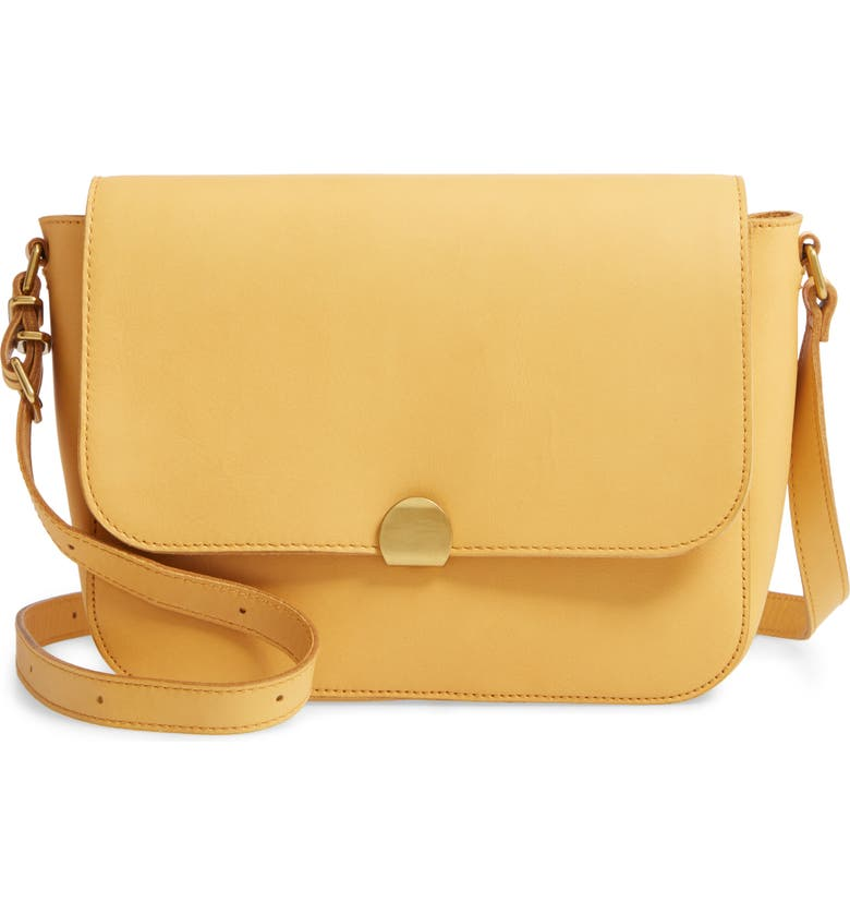 MADEWELL The Abroad Leather Shoulder Bag, Main, color, NECTAR GOLD