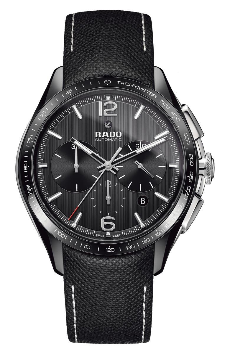 RADO HyperChrome Automatic Chronograph Textile Strap Watch, 45mm, Main, color, BLACK/ GUNMETAL