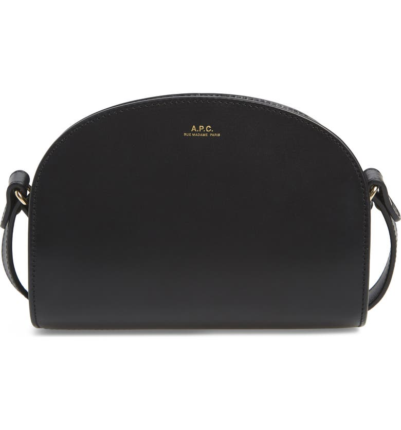 A.P.C. Mini Sac Demi Lune Calfskin Crossbody Bag, Main, color, NOIR