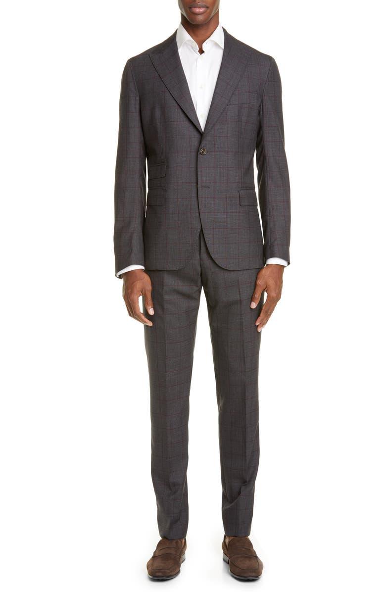 ELEVENTY Trim Fit Plaid Wool Suit, Main, color, CHARCOAL