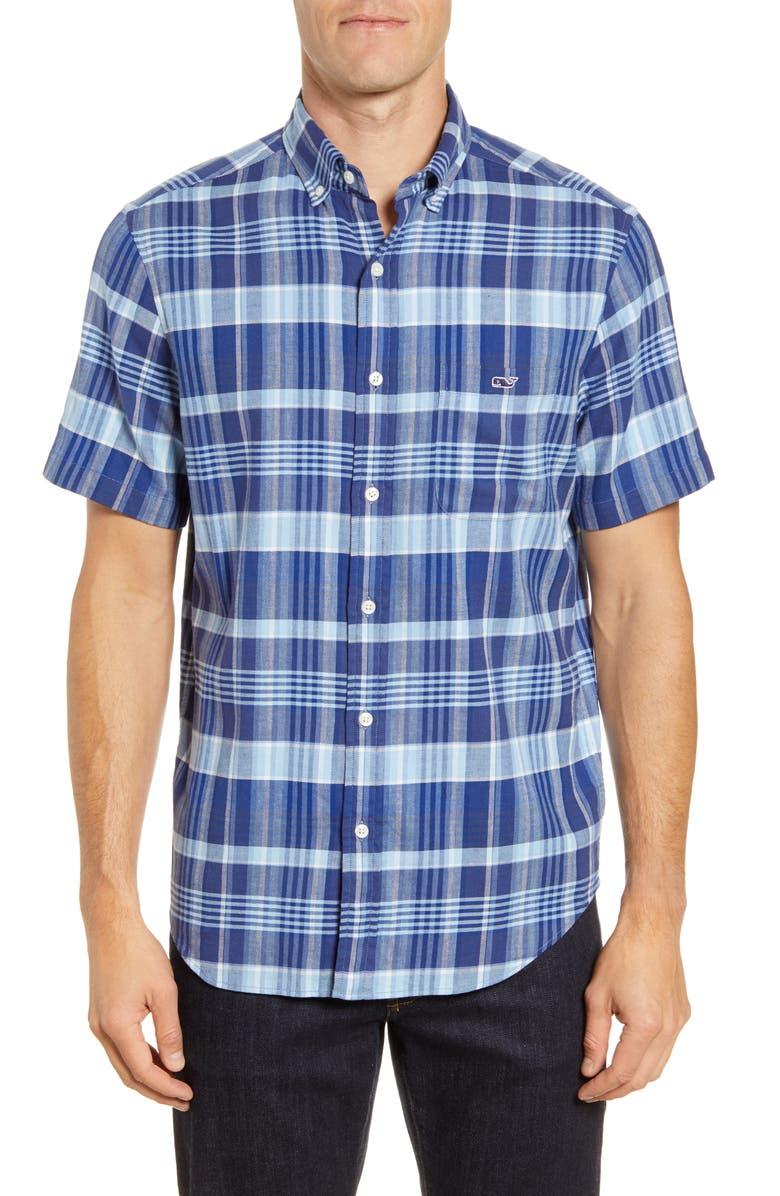 VINEYARD VINES Tucker Classic Fit Plaid Short Sleeve Button-Down Shirt, Main, color, MOONSHINE