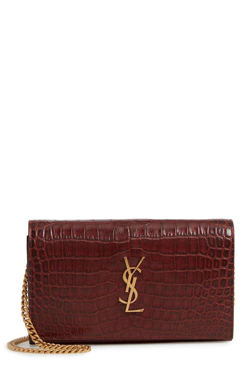 SAINT LAURENT Kate Croc Embossed Leather Wallet on a Chain, Main, color, 930