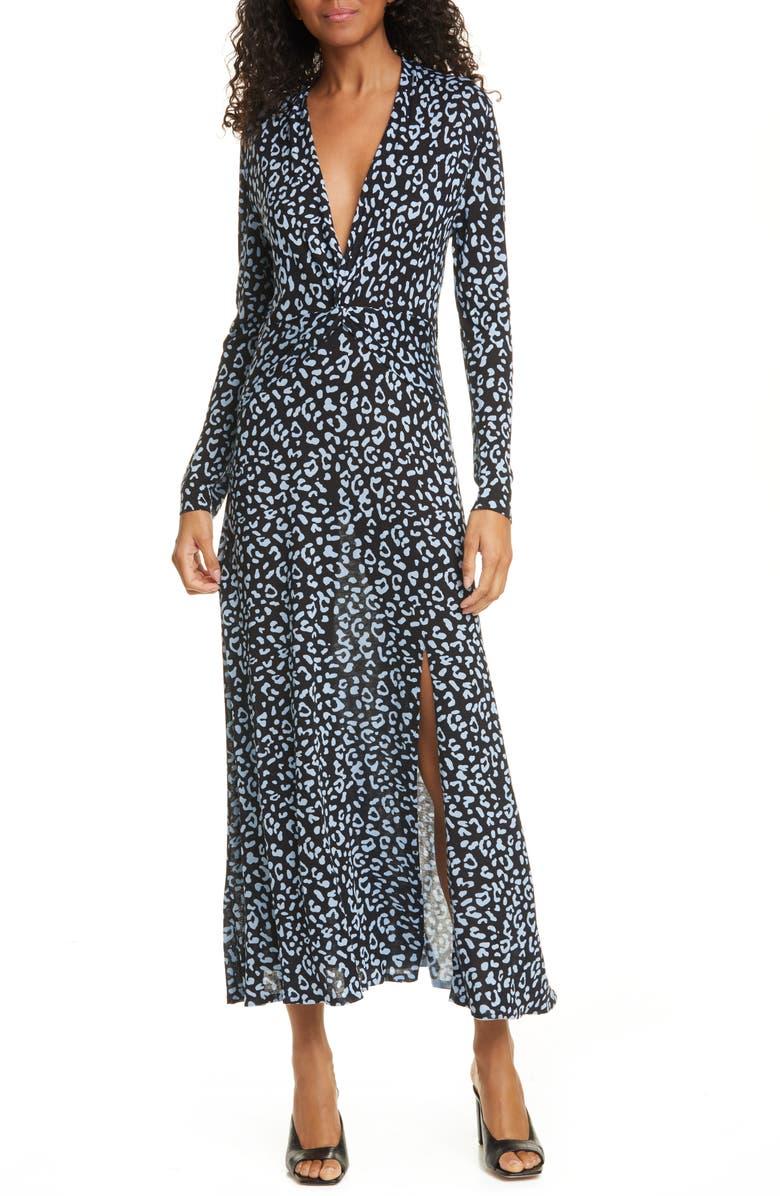 RIXO Anja Leopard Print Silk Blend Long Sleeve Midi Dress, Main, color, BLUE LEOPARD