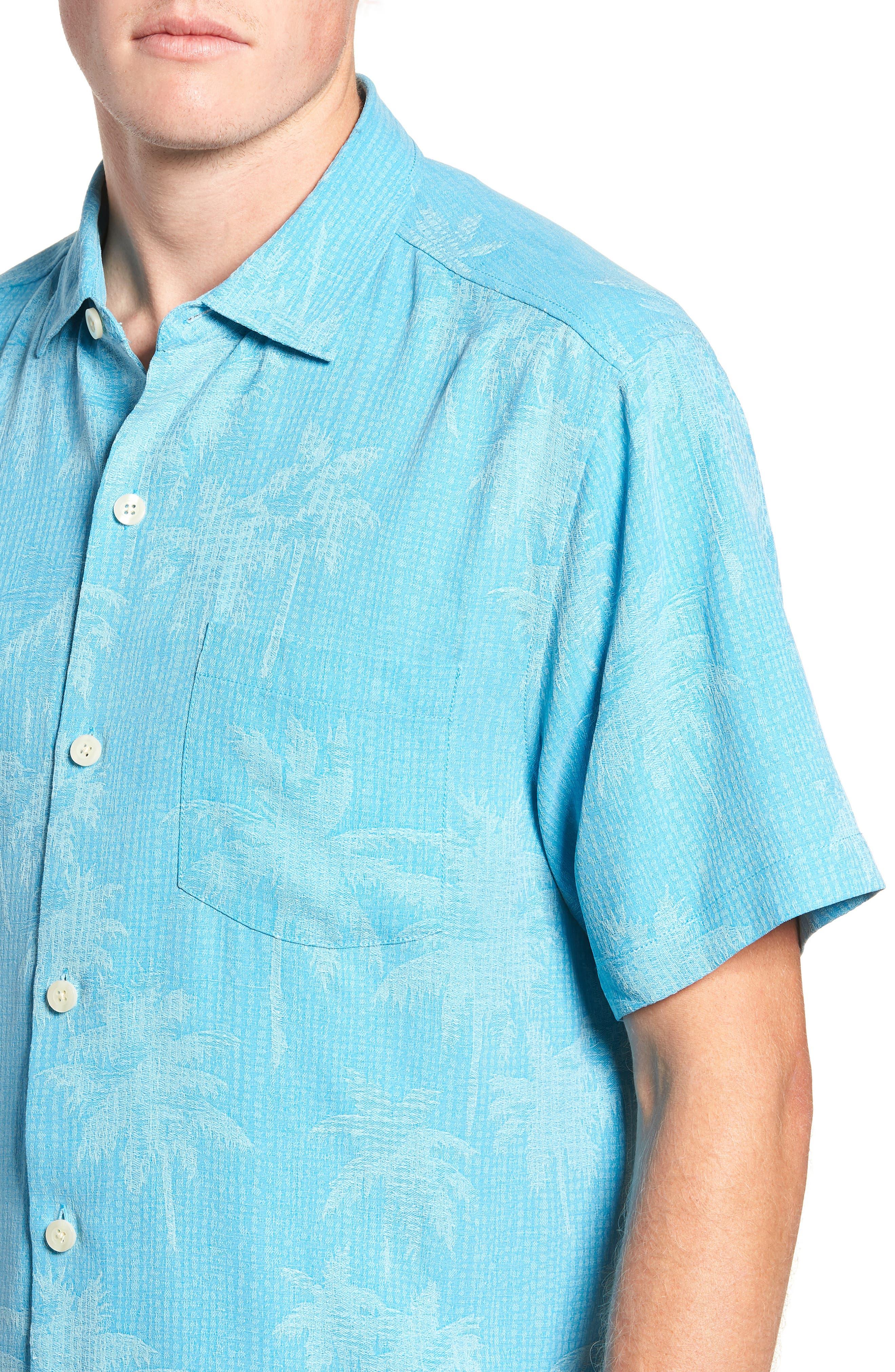 ,                             Digital Palms  Classic Fit Silk Sport Shirt,                             Alternate thumbnail 2, color,                             MAUI BLUE