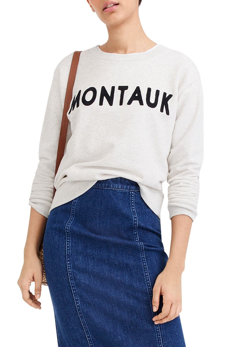 J.CREW Montauk Crewneck Sweatshirt, Main, color, PALE STONE HEATHER