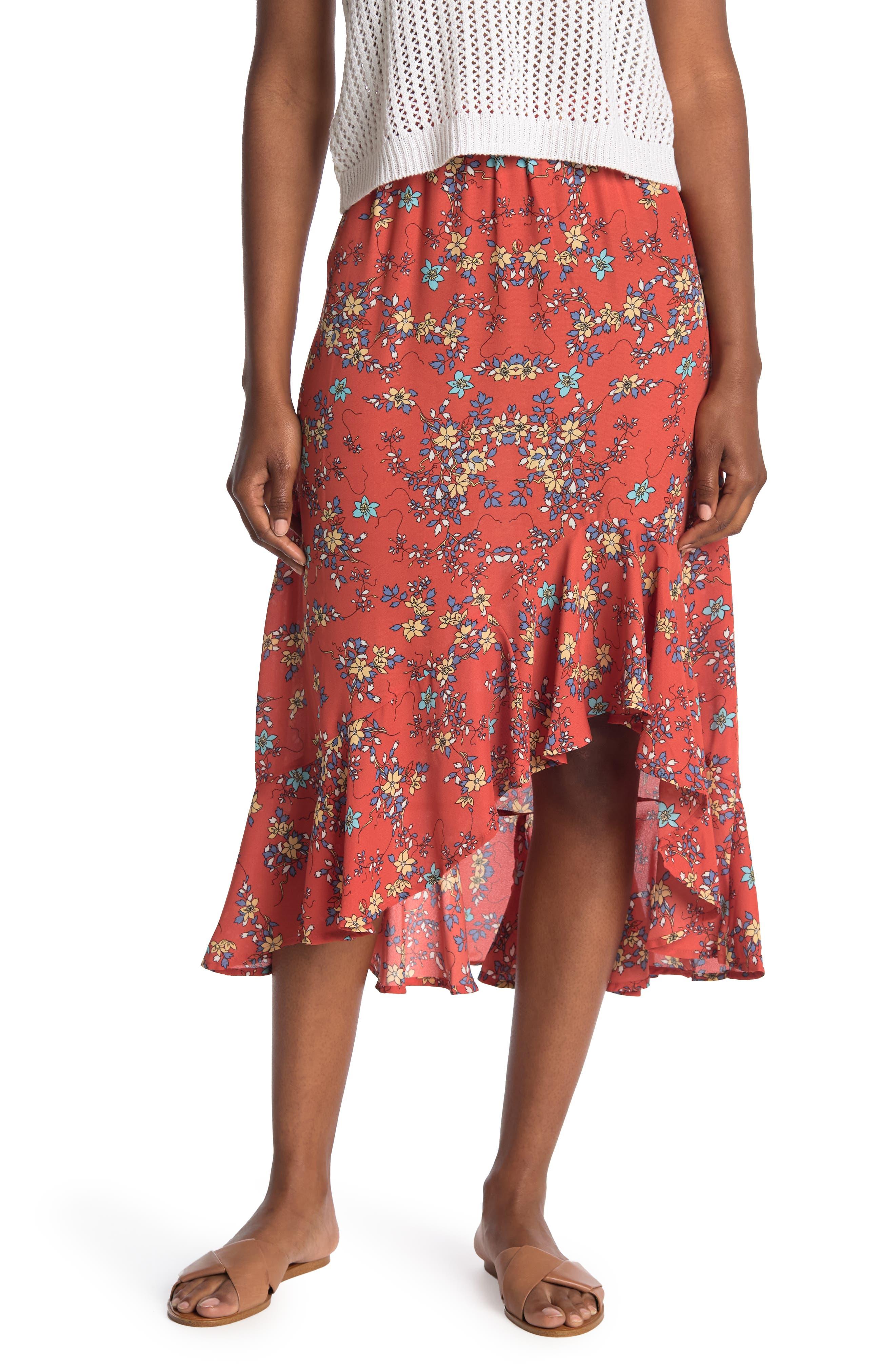 Image of Max Studio Floral Print Ruffle Hem Maxi Skirt