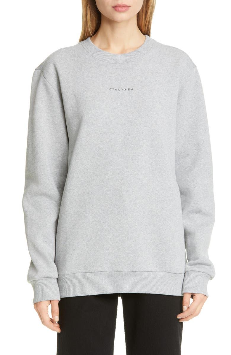 1017 ALYX 9SM Visual Logo Fleece Sweatshirt, Main, color, GREY