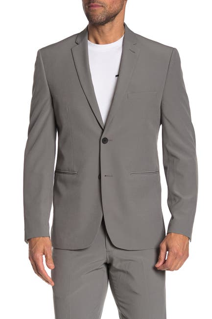 Image of Perry Ellis Grey Solid Two Button Notch Lapel Very Slim Fit Performance Tech Suit Separates Jacket