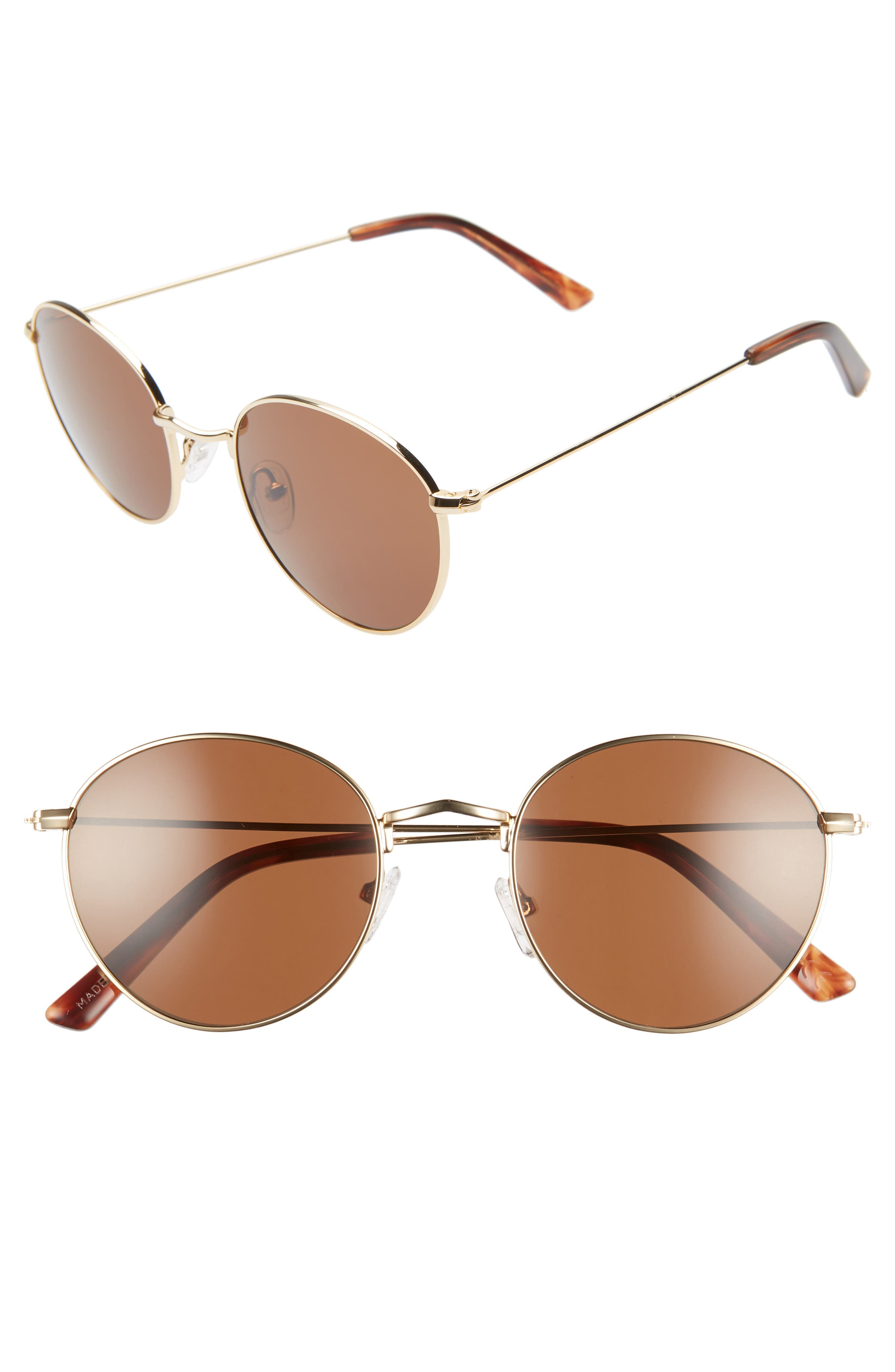 Madewell Fest 50Mm Aviator Sunglasses - Gold/ Brown