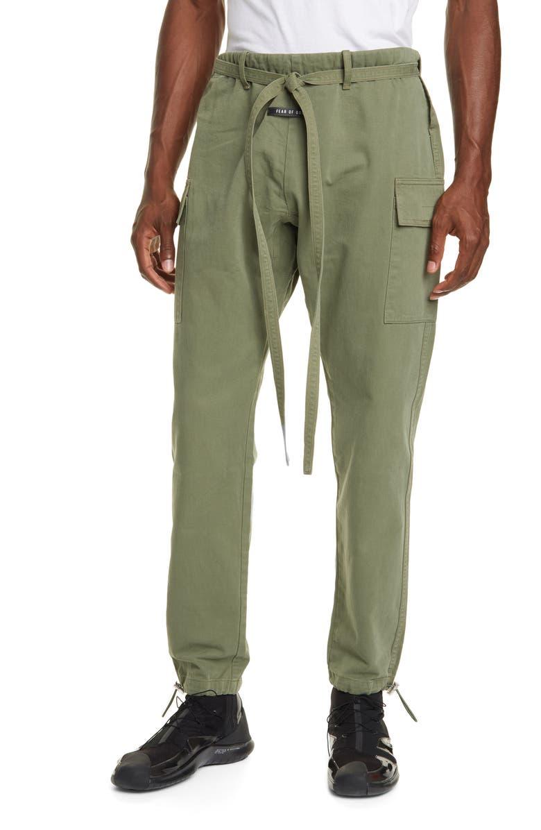 FEAR OF GOD Drawstring Belt Pants, Main, color, ARMY GREEN