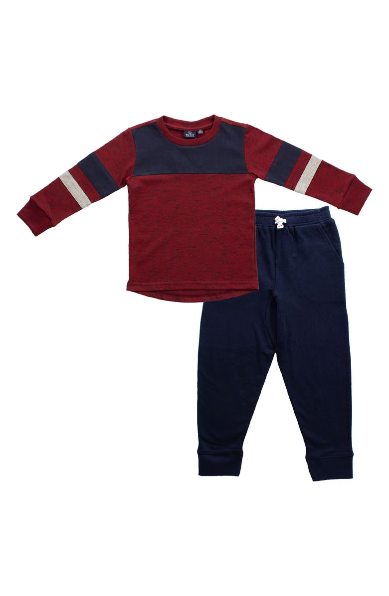 BEAR CAMP Rugby T-Shirt & Sweatpants Set, Main, color, BURGUNDY