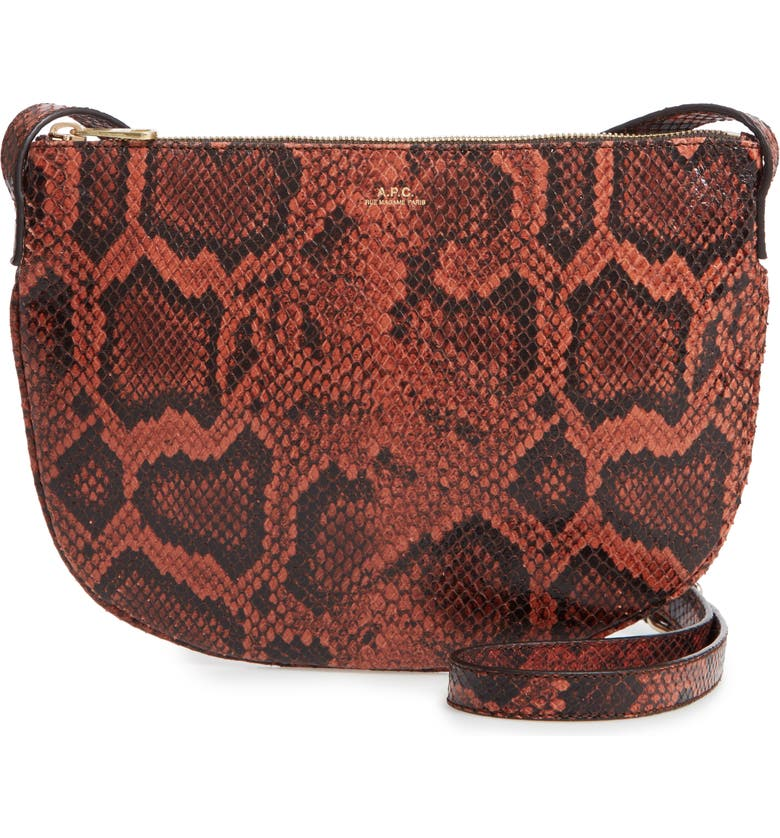 A.P.C. Sac Maelys Python Embossed Leather Crossbody Bag, Main, color, EAF BRIQUE