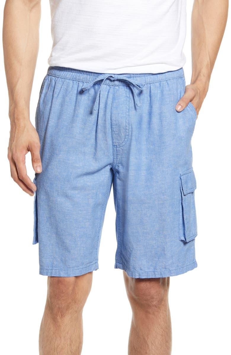 ONIA Tom Drawstring Linen Blend Cargo Shorts, Main, color, BLUEBERRY