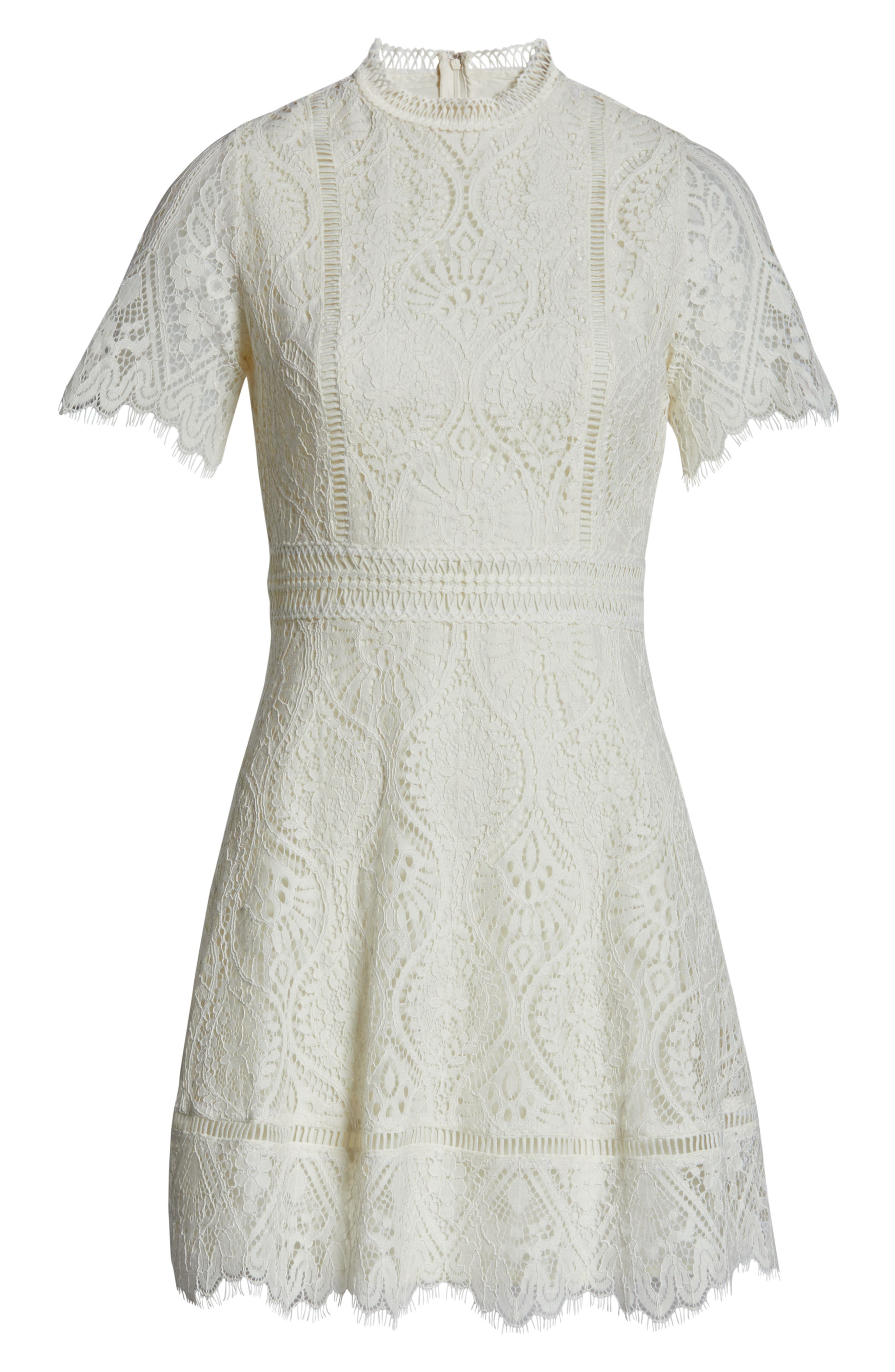,                             On List Short Sleeve Lace Fit & Flare Dress,                             Alternate thumbnail 7, color,                             IVORY
