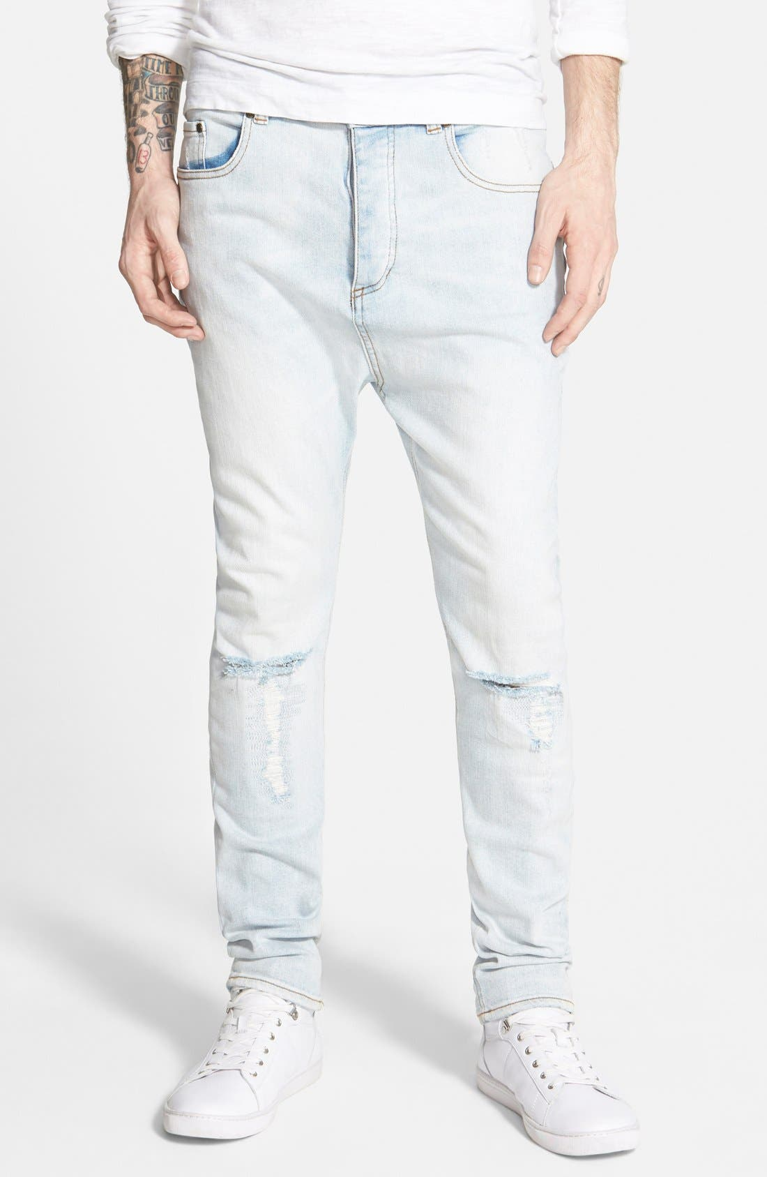 ,                             'Low Blow' Slouchy Skinny Fit Jeans,                             Main thumbnail 1, color,                             453