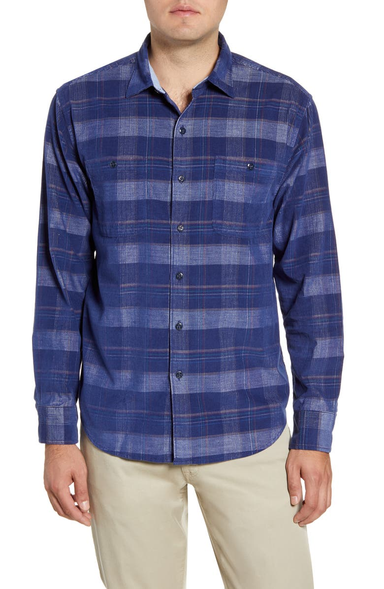 TOMMY BAHAMA Del Coast Regular Fit Corduroy Button Up Shirt, Main, color, OCEAN DEEP