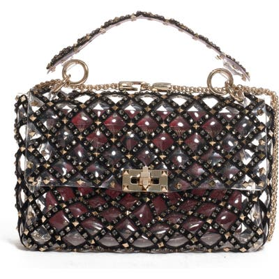 Valentino Garavani Medium Spike It Rockstud Transparent Shoulder/crossbody Bag - Black