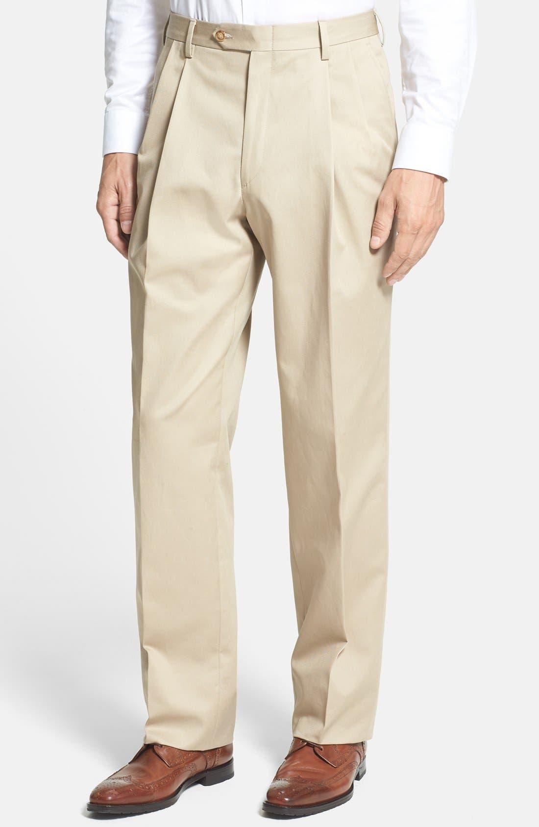 Men's Vintage Pants, Trousers, Jeans, Overalls Mens Berle Pleated Classic Fit Cotton Dress Pants Size 36 x 30 - Beige $115.00 AT vintagedancer.com