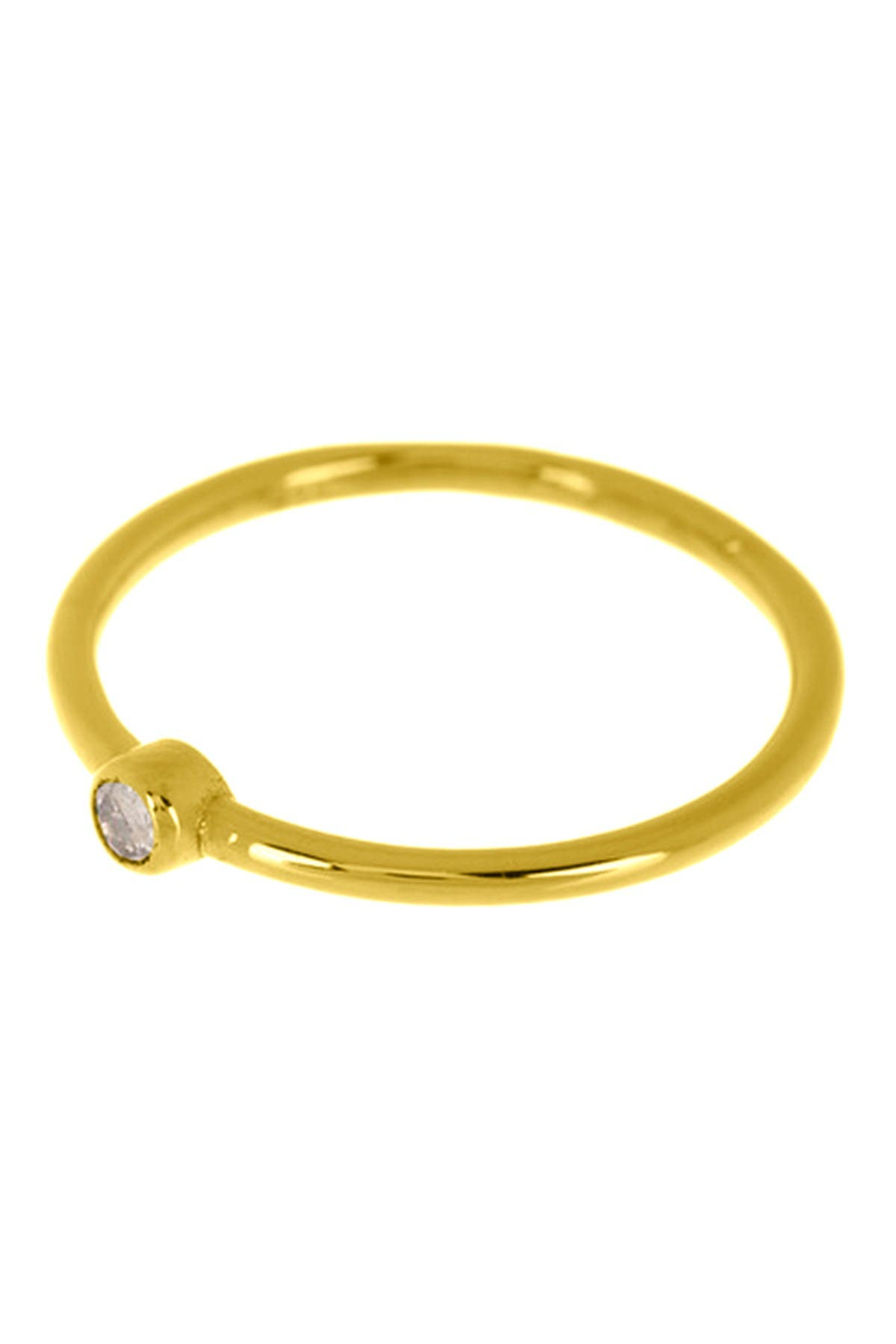 Image of ADORNIA Fine 14K Yellow Gold Plated Sterling Silver Bezel Set Round Diamond Ring - 0.03 ctw