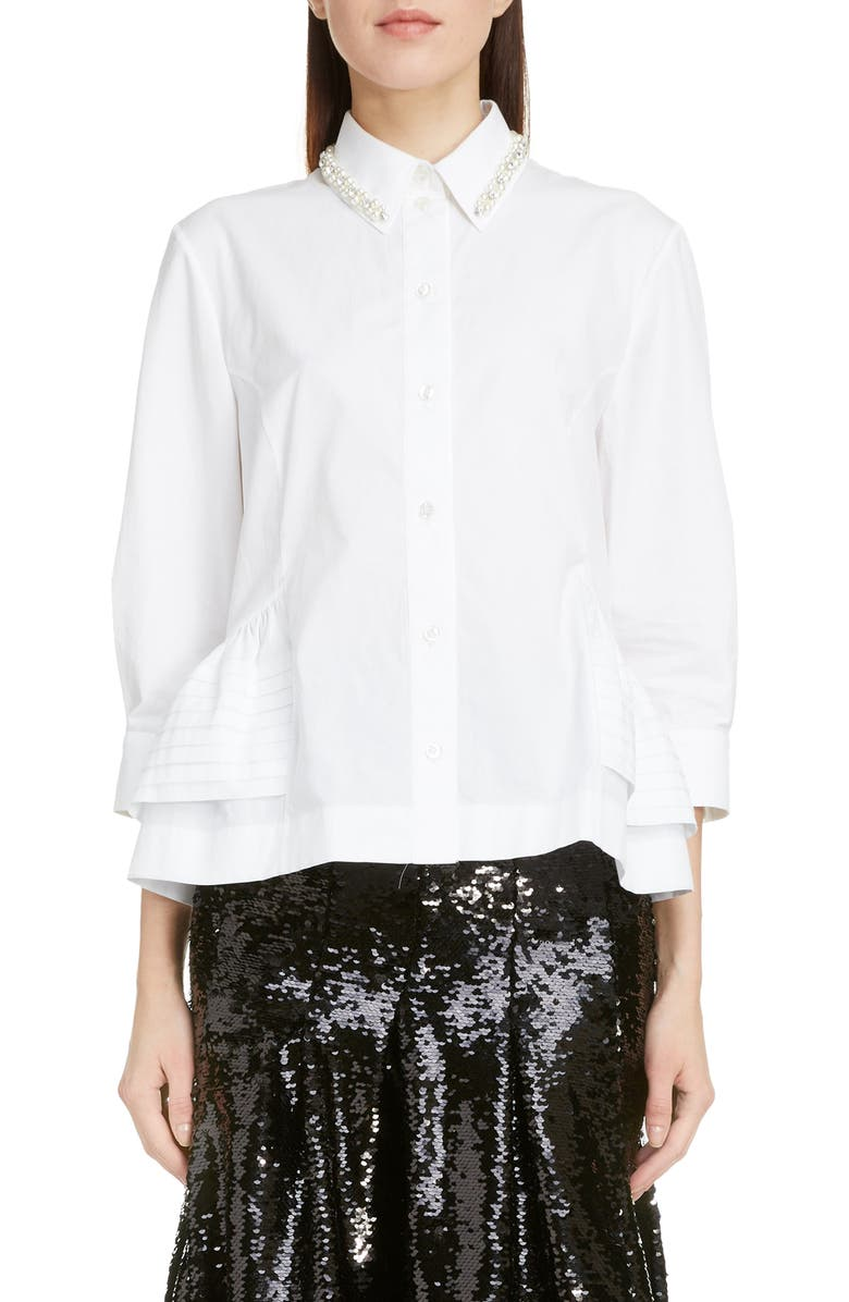 SIMONE ROCHA Imitation Pearl Embellished Poplin Shirt, Main, color, WHITE/ PEARL