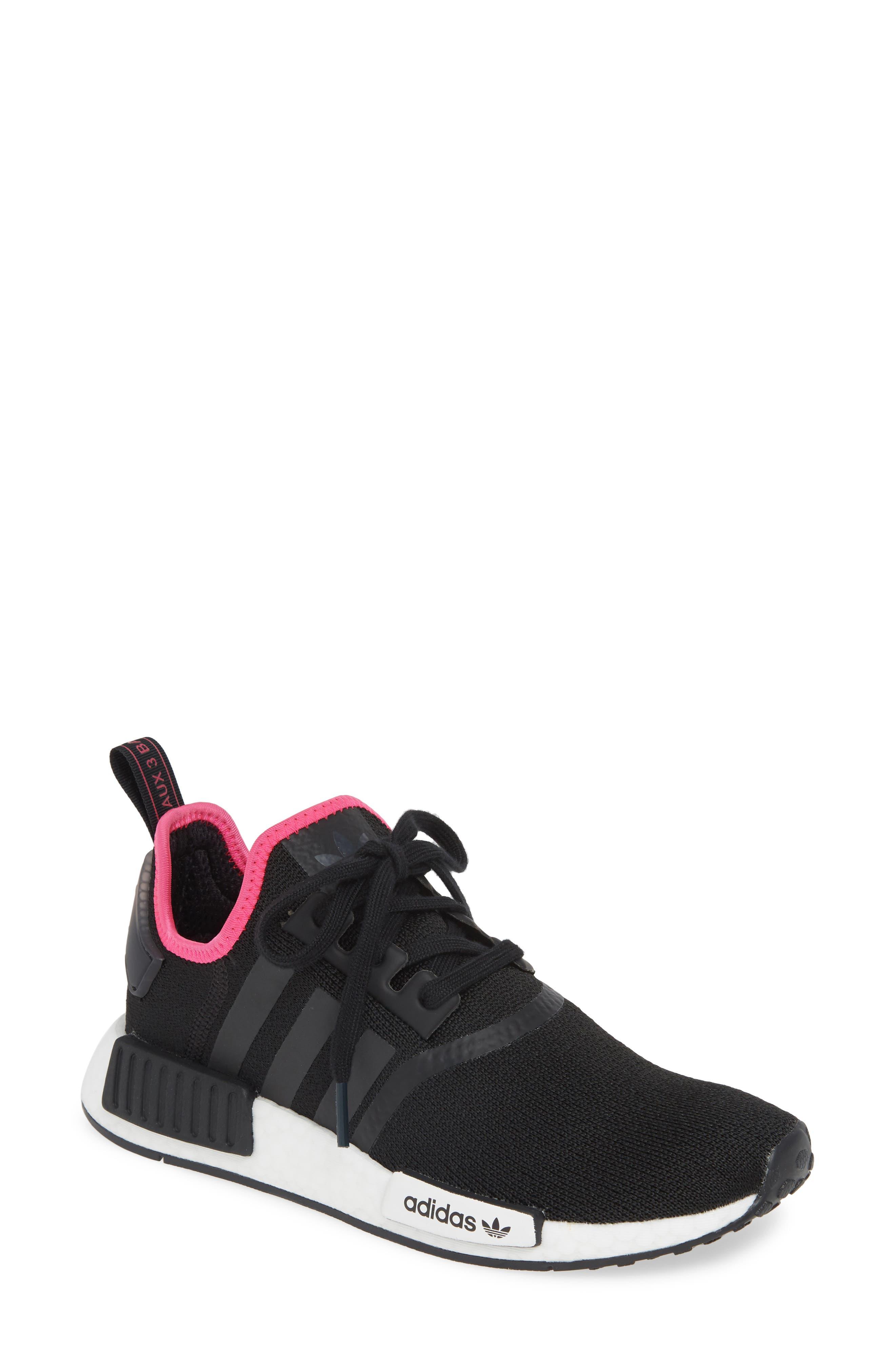 ,                             NMD R1 Athletic Shoe,                             Main thumbnail 1, color,                             CORE BLACK/ SHOCK PINK