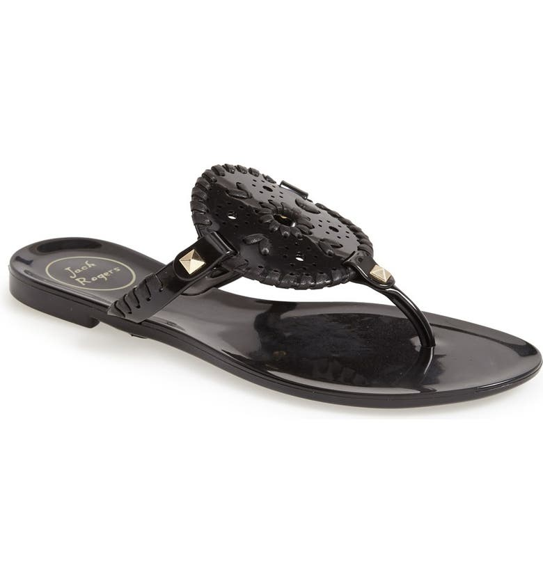 JACK ROGERS 'Georgica' Jelly Flip Flop, Main, color, BLACK