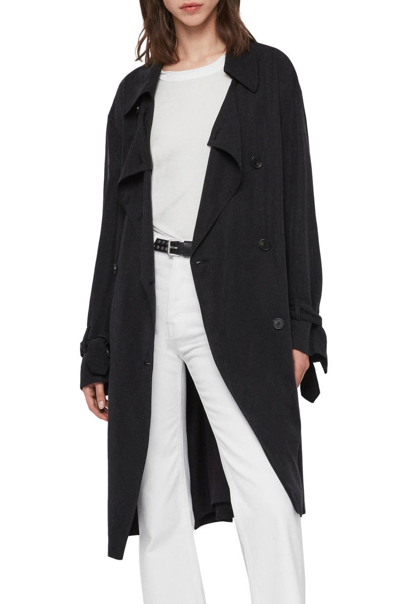 ALLSAINTS Ria Trench Coat, Main, color, INK BLUE