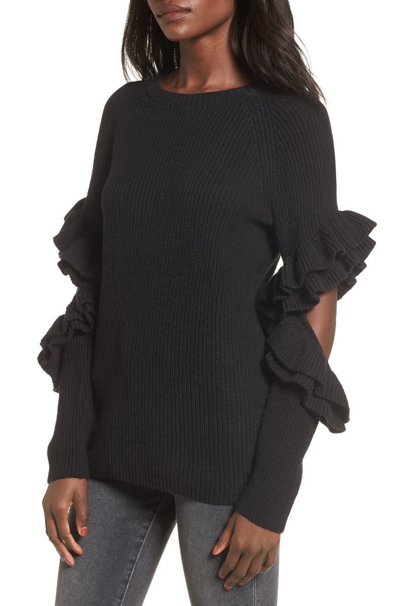 BP. Elbow Cutout Ruffle Sweater, Main, color, 001
