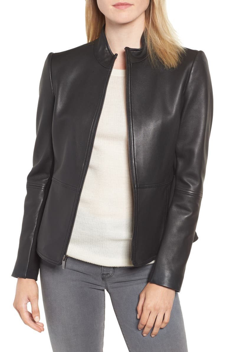 VIA SPIGA Stand Collar Leather Jacket, Main, color, BLACK