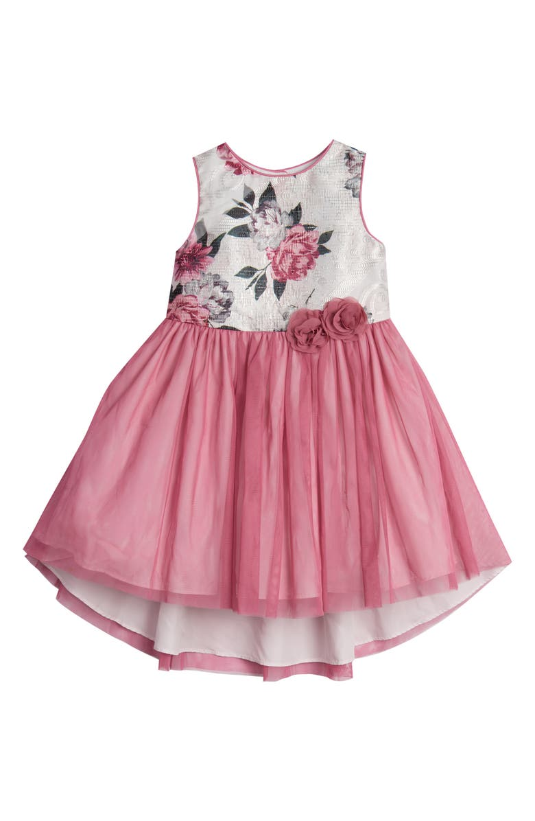PIPPA & JULIE Rose Sparkle Burnout Fit & Flare Dress, Main, color, IVORY/ PINK