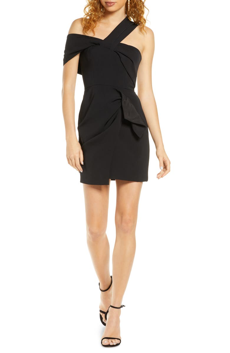 C/MEO COLLECTIVE C/MEO Caliber One-Shoulder Minidress, Main, color, BLACK