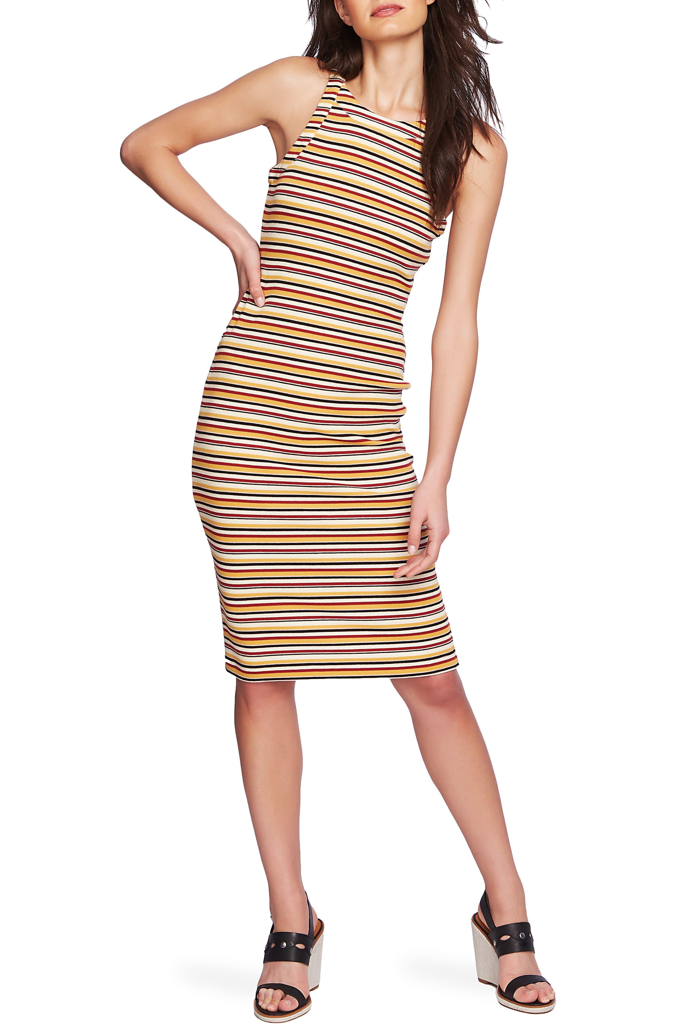 1.state Dialogue Stripe Body-Con Dress, Yellow