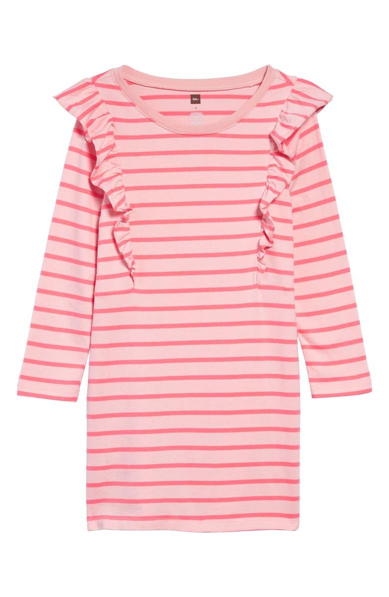 TEA COLLECTION Stripe Ruffle Dress, Main, color, APPLE BLOSSOM