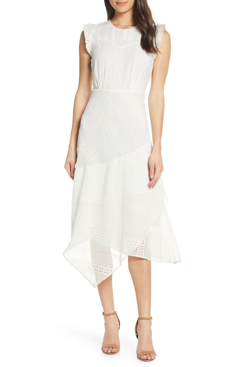 LENON Asymmetrical Eyelet Dress, Main, color, 105