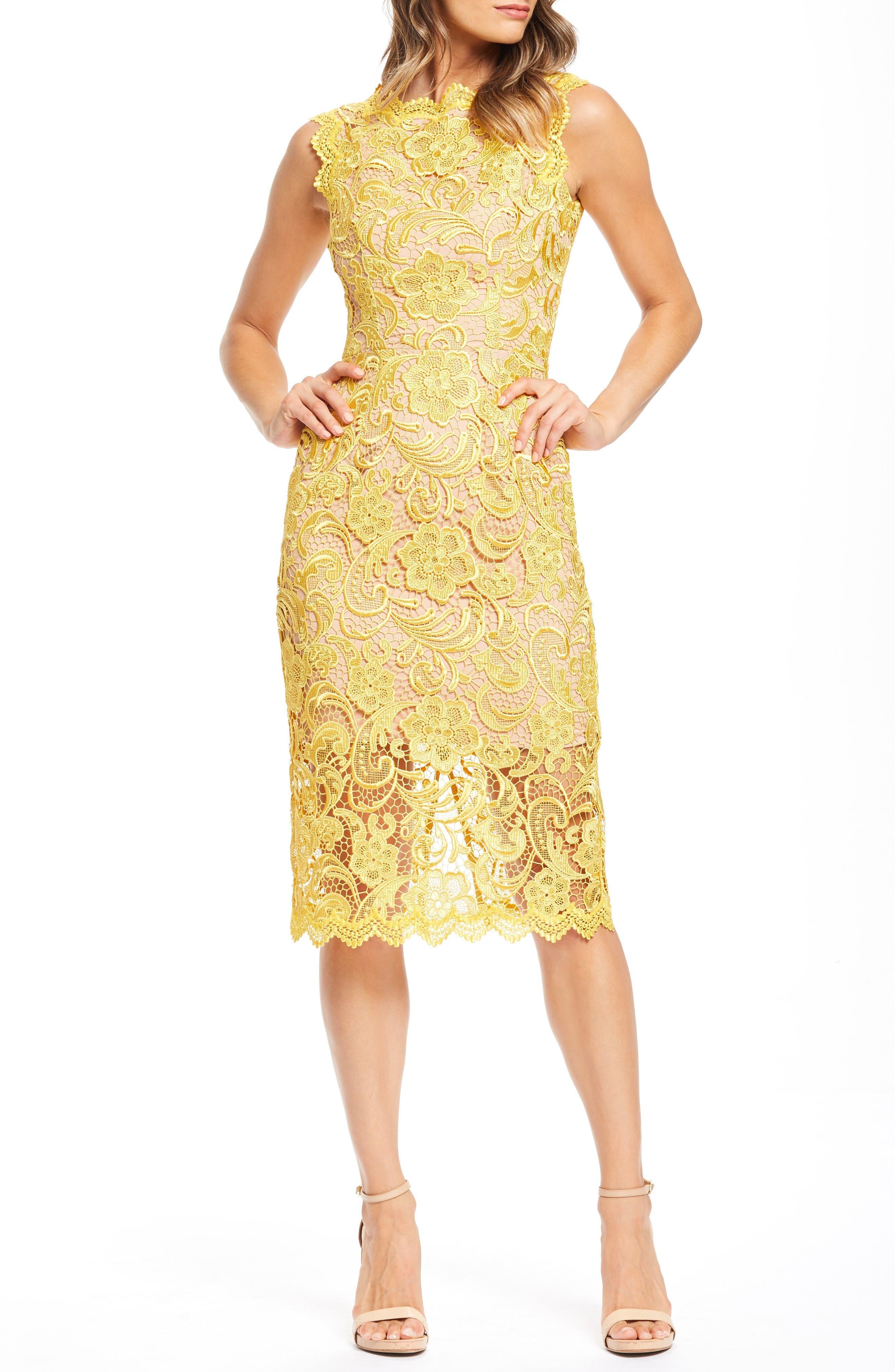 Dress The Population Claudette Crochet Lace Sheath Dress, Yellow