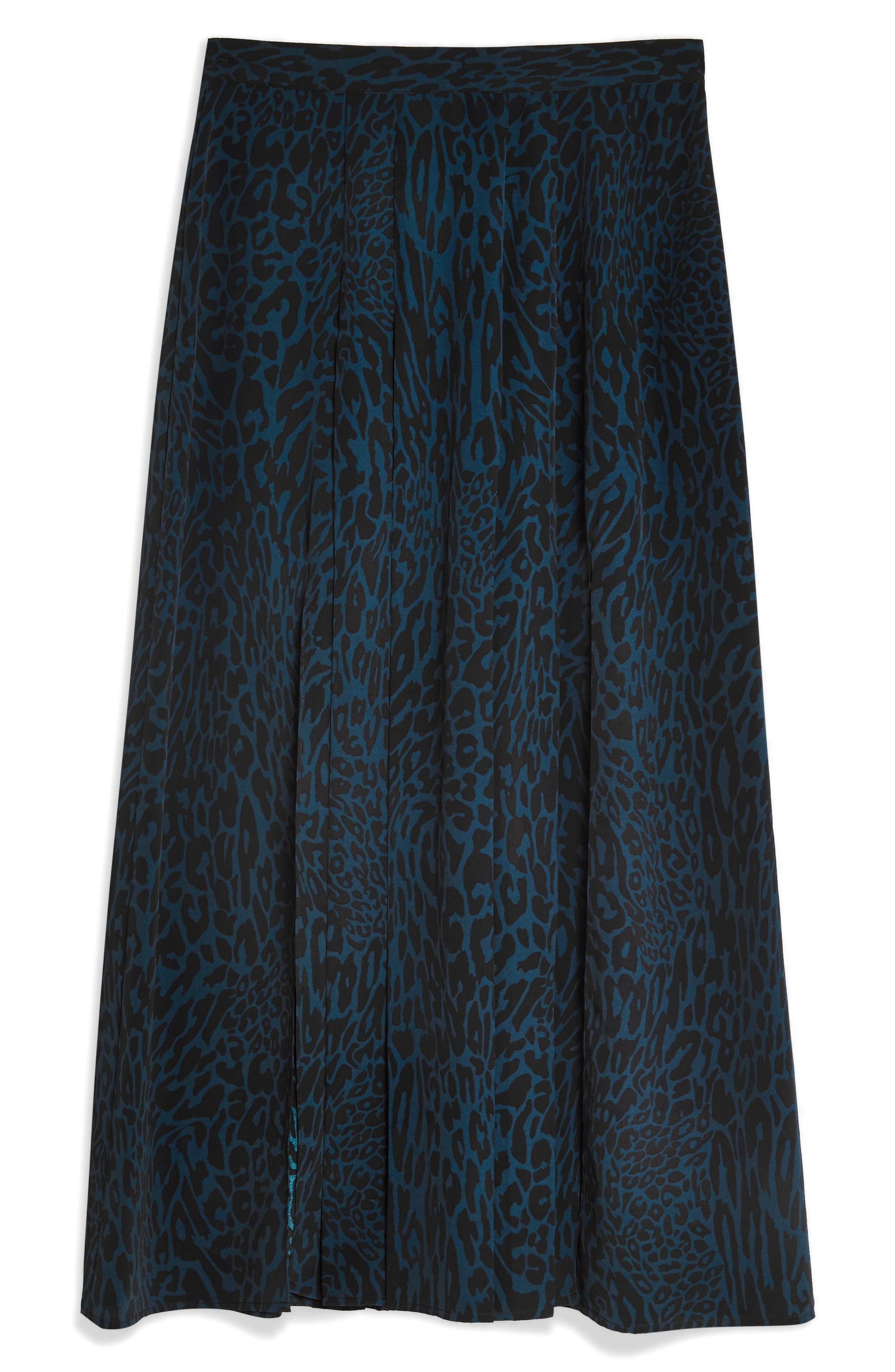 ,                             Box Pleat Midi Skirt,                             Alternate thumbnail 3, color,                             BLUE MULTI