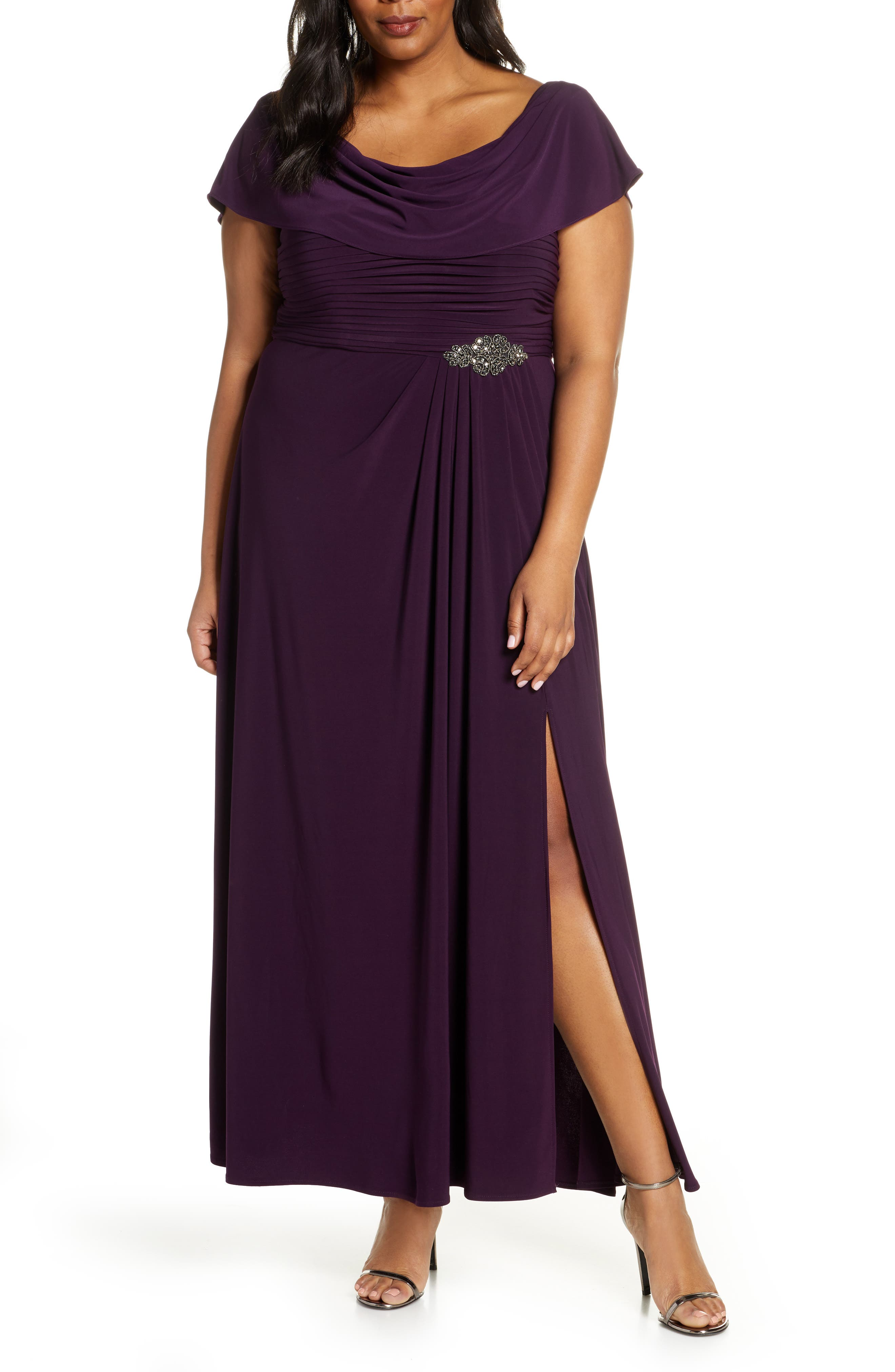 Plus Size Alex Evenings Cowl Neck Beaded Waist Gown, Purple