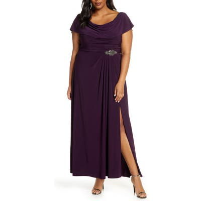 Plus Size Alex Evenings Cowl Neck Beaded Waist Gown, Purple
