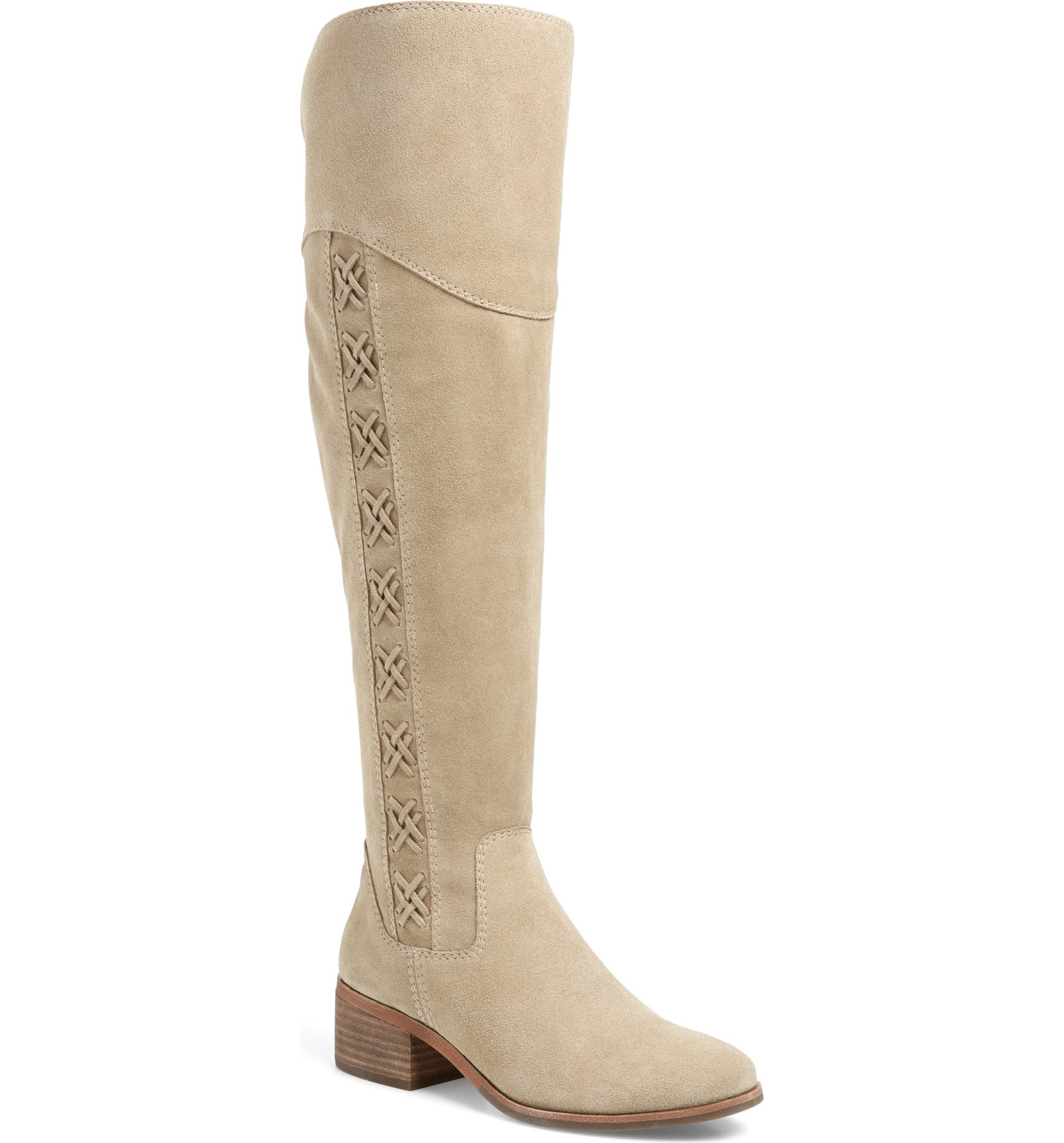 VINCE CAMUTO Kreesell Knee High Boot, Main, color, TAUPE NOTCH SUEDE
