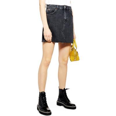 Topshop High Waist Denim Skirt, US (fits like 0-2) - Black
