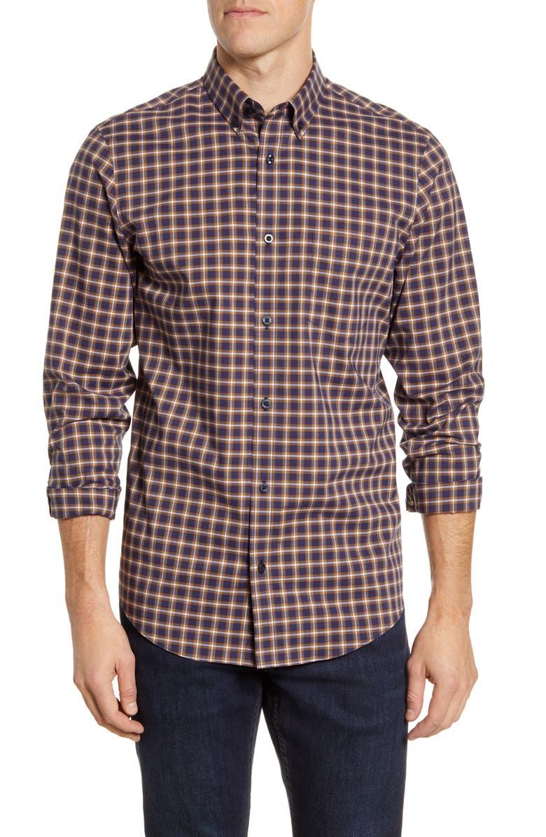 NORDSTROM MEN'S SHOP Tech-Smart Regular Fit Check Button-Down Shirt, Main, color, 410