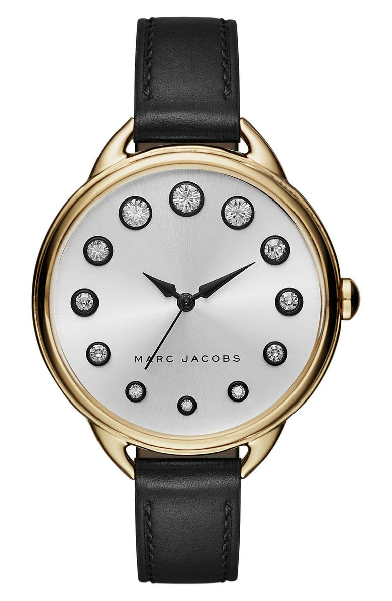 MARC JACOBS 'Betty' Leather Strap Watch, 36mm, Main, color, 001