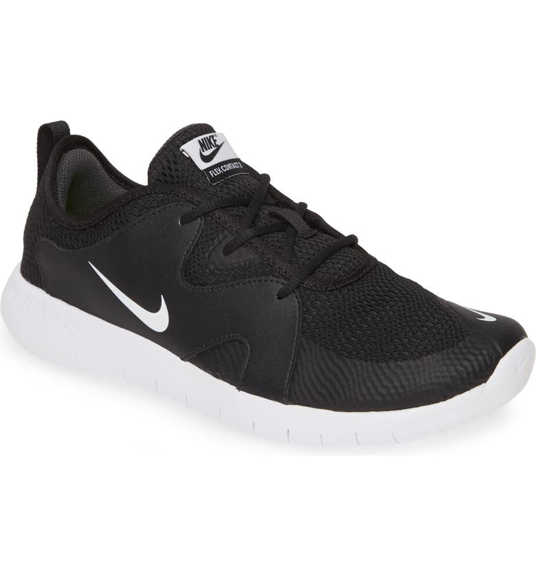 NIKE Flex Contact 3 GS Running Shoe, Main, color, BLACK/ WHITE