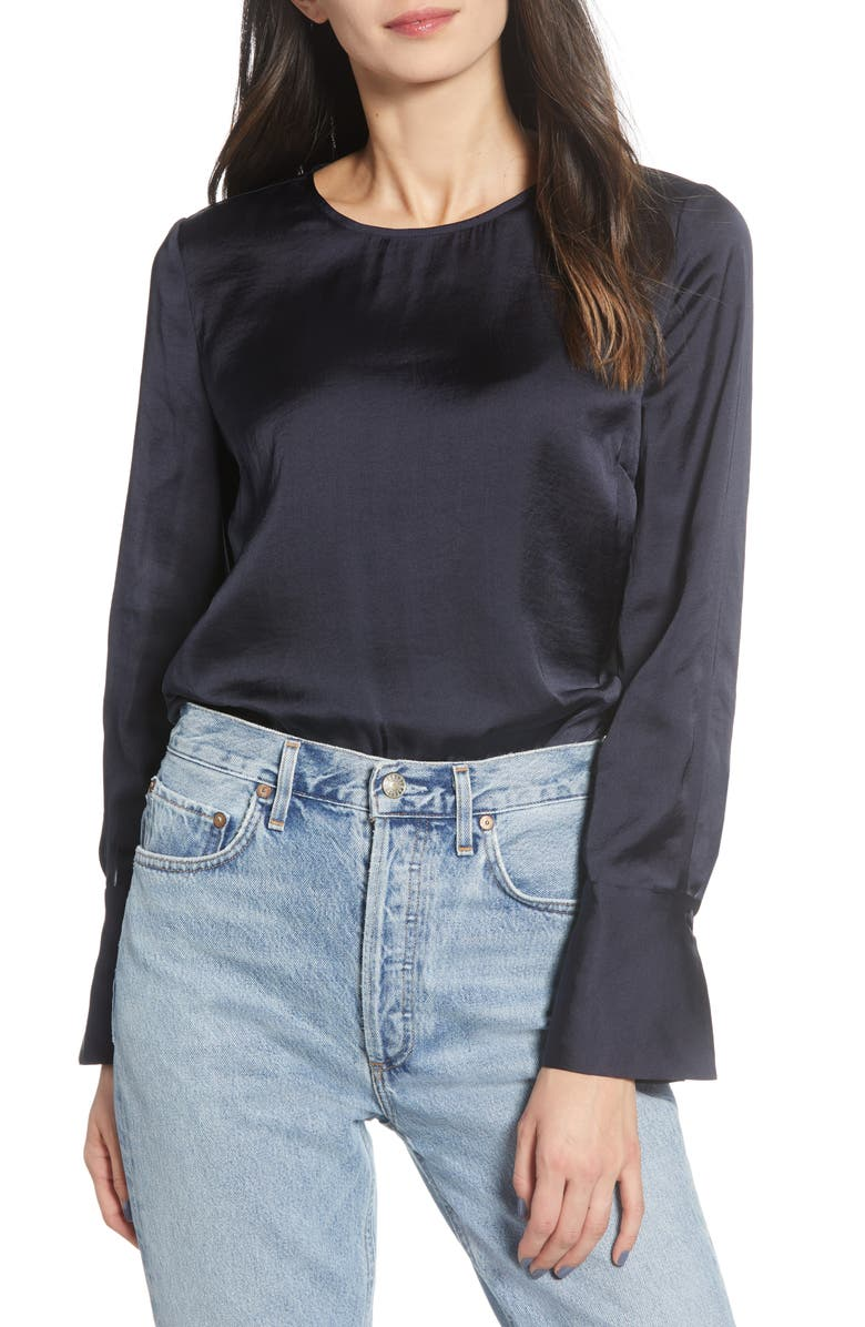 CHELSEA28 French Cuff Blouse, Main, color, NAVY NIGHT