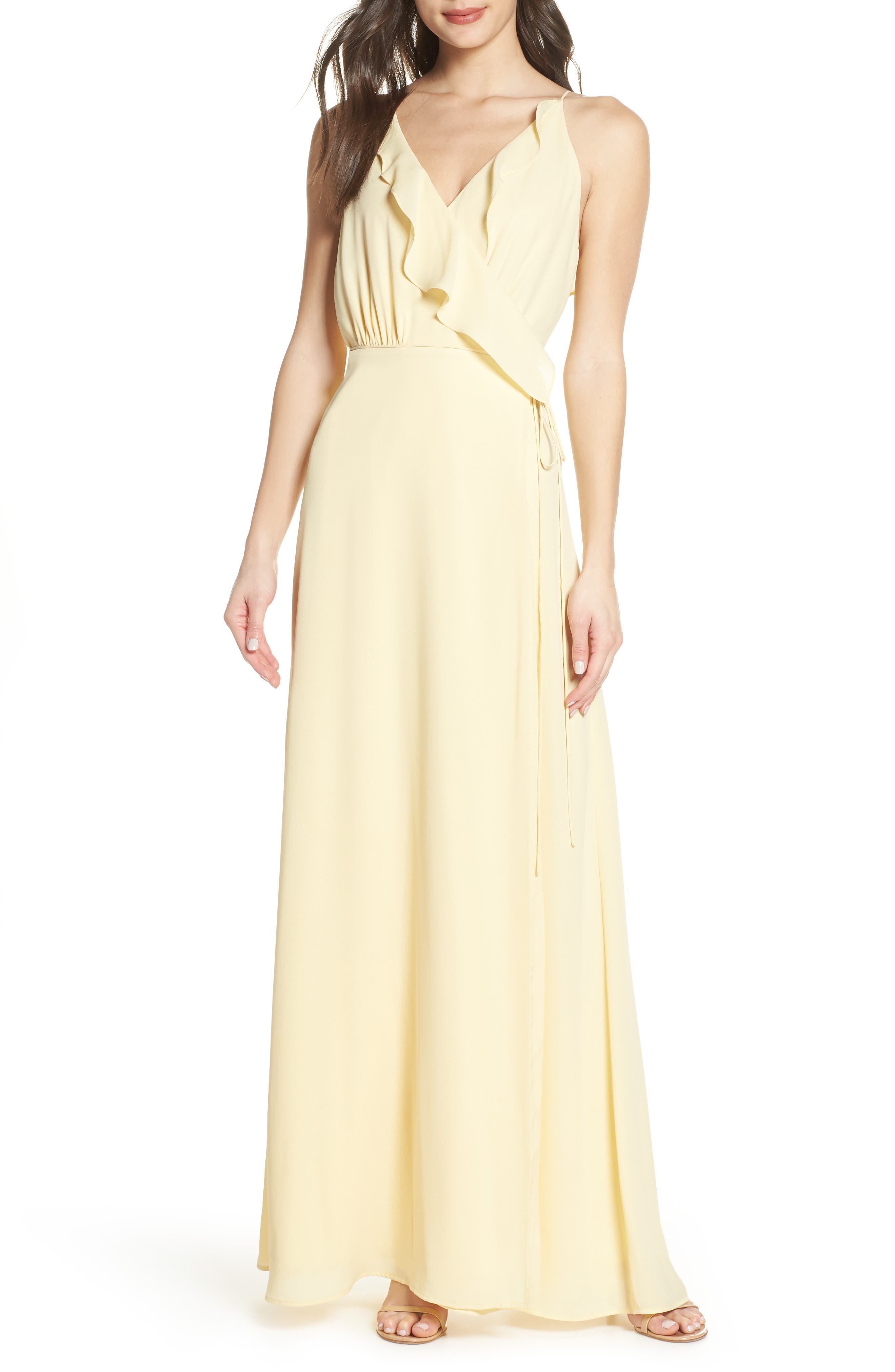 Wayf Jamie Ruffle Wrap Gown, Yellow