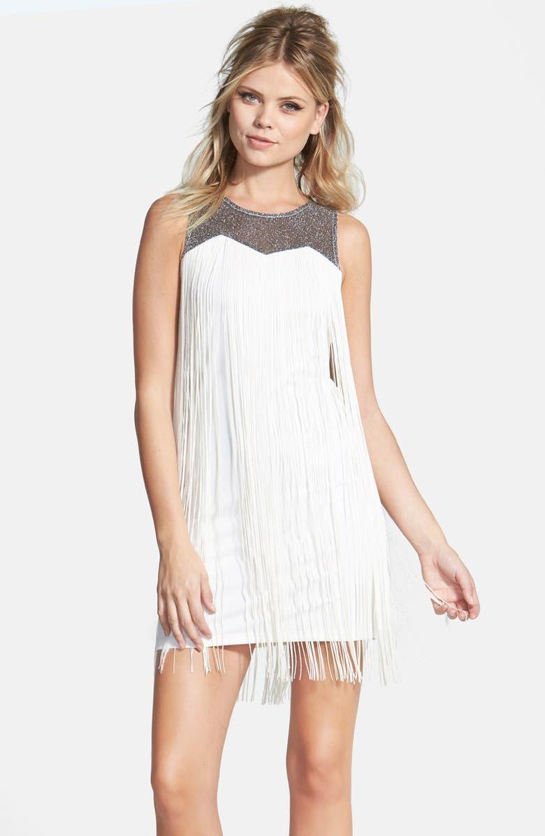 DIRTY BALLERINA Fringe Shift Dress, Main, color, 900