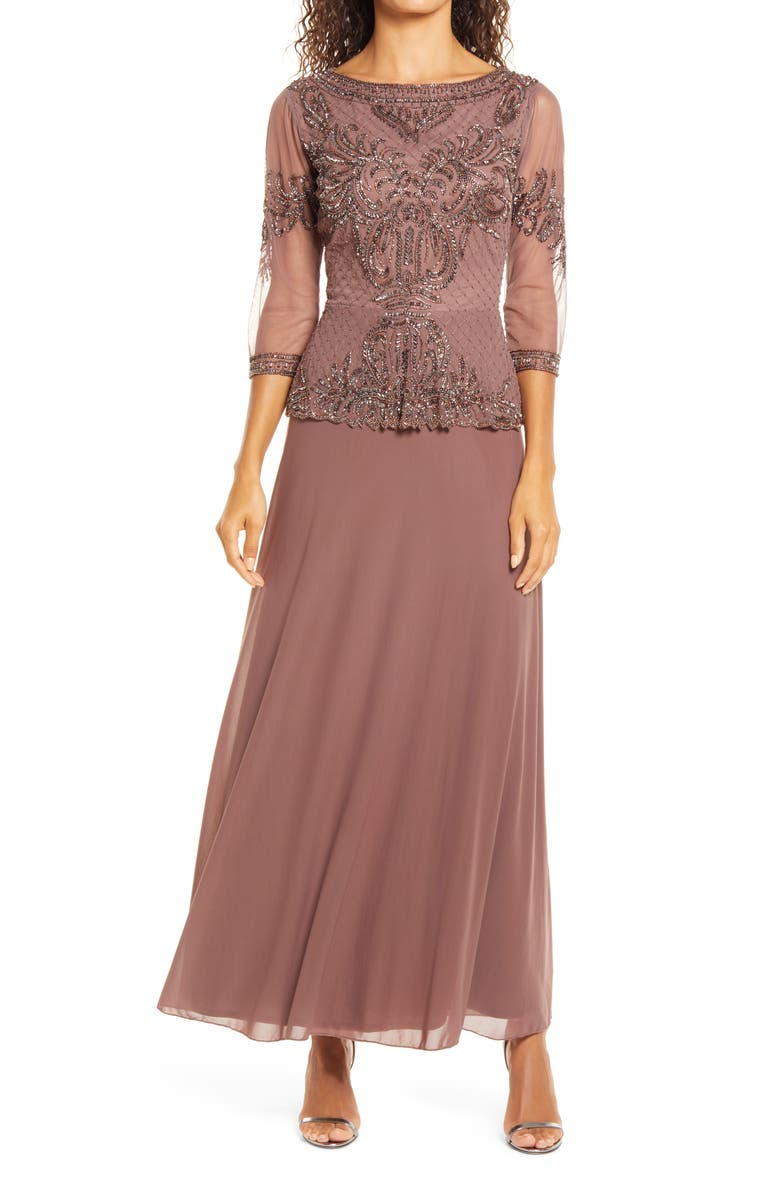 PISARRO NIGHTS Bead Embellished Gown, Main, color, MAUVE