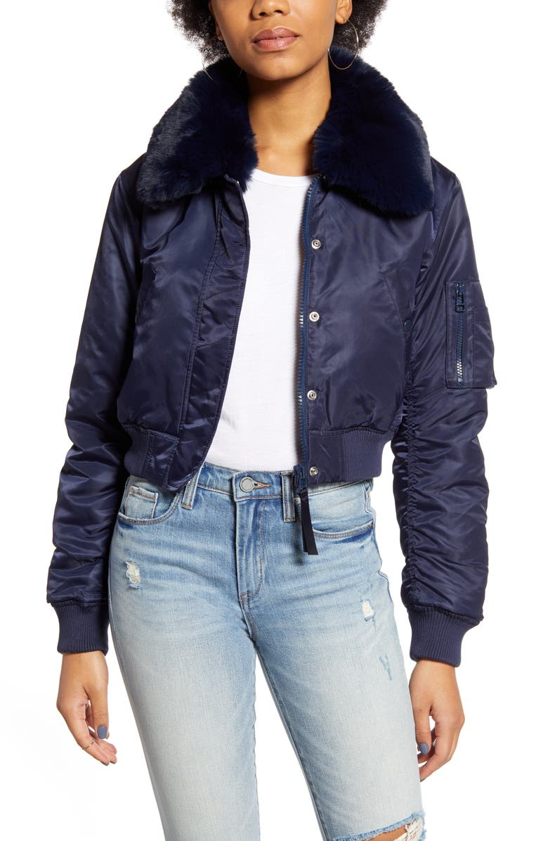 Faux Fur Collar Cropped Bomber Jacket by Bdg Urban Outfitters