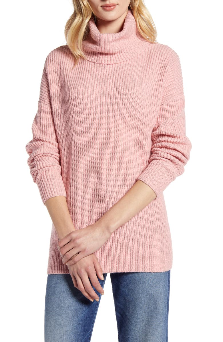 HALOGEN<SUP>®</SUP> Oversized Turtleneck Tunic Sweater, Main, color, PINK BRIDE